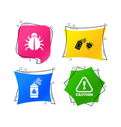 Bug disinfection signs caution attention icon vector