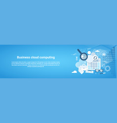 Business cloud computing template web banner with vector