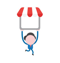 Businessman character running and carrying shop vector
