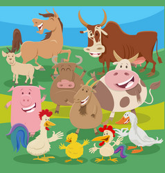 Cartoon farm animal characters group in the vector