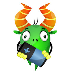 cartoon monster holding a battery on white vector image