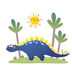 Cartoon stegosaurus dinosaur vector