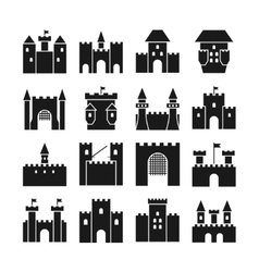 Castle icons Medieval walls and gothic vector