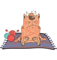 Cat and threads Cartoon vector image