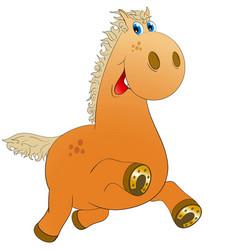 Cheerful horse runs and smiles vector