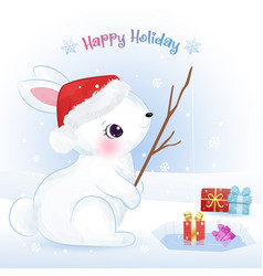 Christmas greeting card with cute animals vector