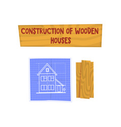 construction of wooden house eco building design vector image