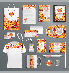 Corporate identity template for fast food branding vector