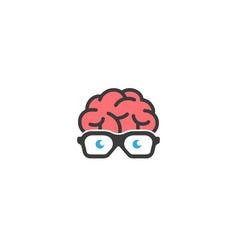 Creative brain geek glasses logo design vector