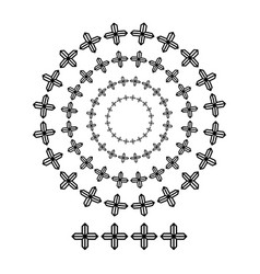 cross brush patterns in a circle line black shape vector image