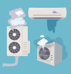 Damaged conditioner broken home air systems wind vector