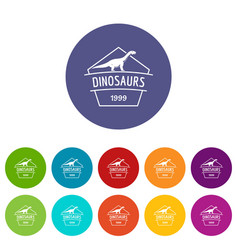 dinosaur icons set color vector image