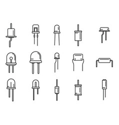 Diode icons set outline anode light vector