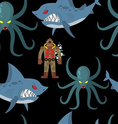 Diver in old diving suit and sea monsters seamless vector