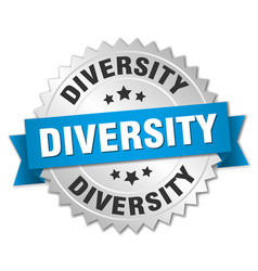diversity round isolated silver badge vector image