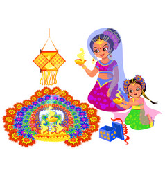 Diwali indian holiday and mother with daughter vector