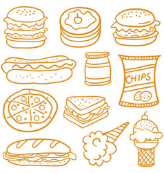 Doodle of food element various vector