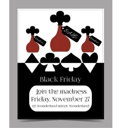 Drink Me Bottle Black Friday Banner Postcard vector image