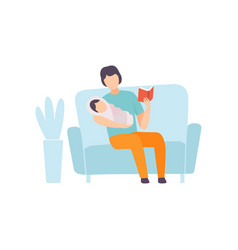 father reading bedtime story to his baby parent vector image
