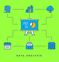 Flat conceptual Data analysis thin line for vector