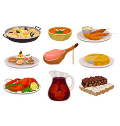 flat set of traditional spanish food and vector image