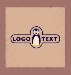 flat shading style icon penguin logo vector image