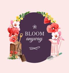 Flower garden wreath design with poppy tulip vector