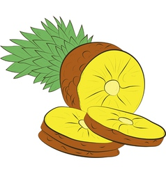 Fresh pineapple with slice vector image