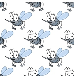 Funny cartoon mosquitos seamless pattern vector image