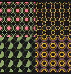 geometric seamless pattern set of backgrounds vector image