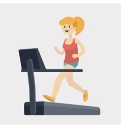 Girl run on treadmill cartoon vector