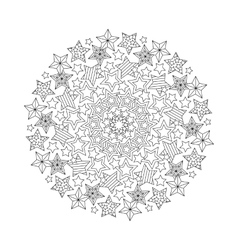Graphic Mandala with outline stars Zentangle vector