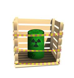 Green barrel with radioactive waste vector