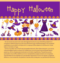 halloween banner with icons on theme vector image
