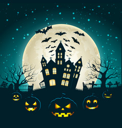 halloween party poster with castle silhouette vector image