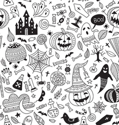 Halloween seamless pattern ornamental style vector