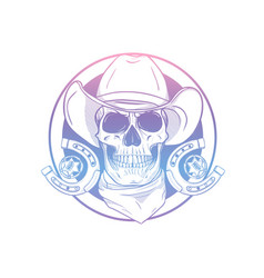Hand drawn sketch cowboy set vector