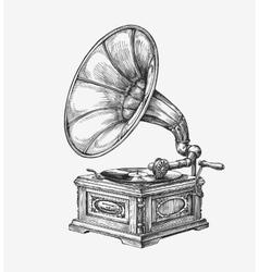 Hand-drawn vintage gramophone sketch music vector