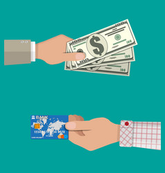 hands with bank card and cash vector image
