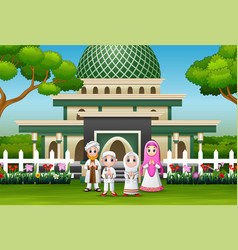 happy family celebrate for eid mubarak in front th vector image