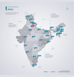 india map with infographic elements pointer marks vector image