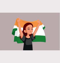 Indian woman holding national flag cartoon vector