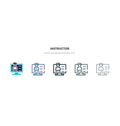 Instructor icon in different style two colored vector