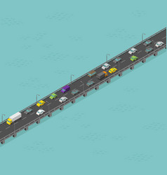 isometric bridge road medium traffic long vector image