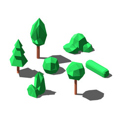 isometric low poly trees and bushes set vector image