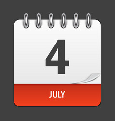 july 4 calendar daily icon vector image