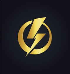 Light bolt electric gold logo vector