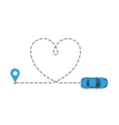 Love car route romantic travel vector