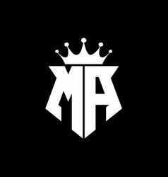 ma logo monogram shield shape with crown design vector image