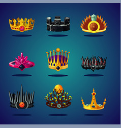 Magic crown fantasy collection king corona game vector